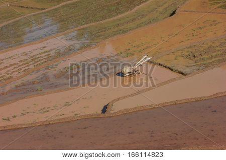old tracktor in step ladder brown mud rice field