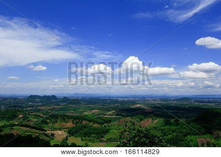 clear blue sky with some cloud tropical highland landscape