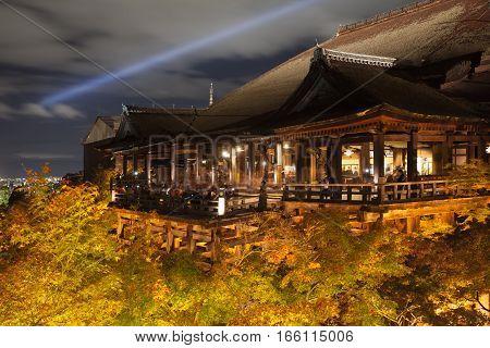 Wood pavilian and light up at kyoto Kiyomizu temple in autumn season