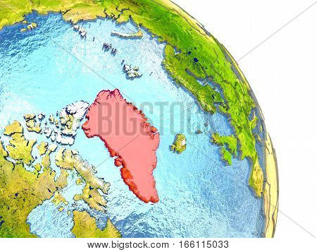 Greenland On Earth In Red
