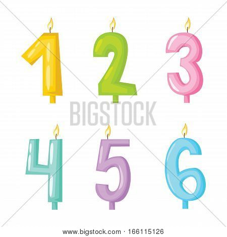 Vector ceremony candle numbers with fire illustration. Burning warm glowing shiny collection. Colorful wax bright spirituality relaxation decoration.