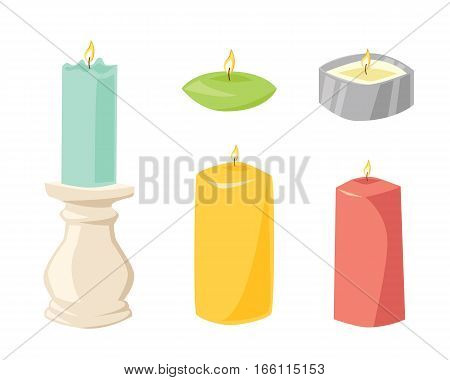 Vector ceremony candle with fire illustration. Burning warm glowing shiny collection. Colorful wax bright spirituality relaxation decoration.