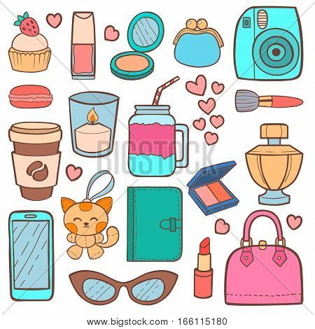 Cute hipster stickers scrapbook drawing vector illustration. Fashion patch pop design hand drawn badges. Vintage female cosmetics makeup accessories.