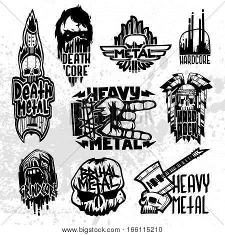 Heavy rock music badge vector set. Vintage labels with punk skull symbols. Hard sound sticker print emblem. Creative recording hipster classic template.