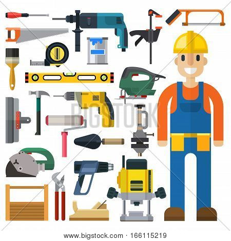 Construction man and building tools vector set. Carpenter industry worker equipment. Professional engineer repairman person. Renovation engineering measure icons.