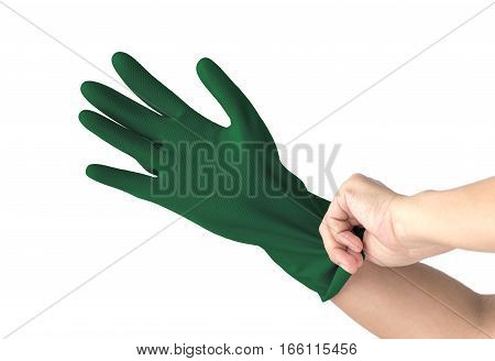 Latex Glove For Cleaning on hand isolated on white background