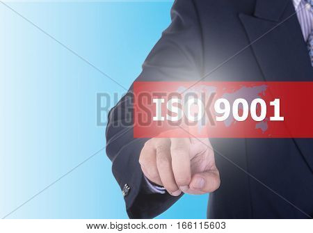 Businessman Pressing Iso 9001