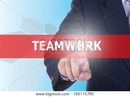 Businessman Pressing Teamwork Button