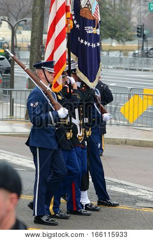 WASHINGTON, DC - JAN.20, 2017: Presidential Parade after the Inauguration of Donald Trump as the 45th President of the United States in Washington DC, USA.