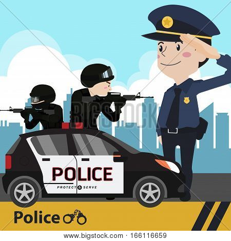 polish officer illustration cartoon flat collection job