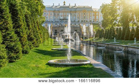 Saint Petersburg, Russia - August 25, 2015: Grand Cascade and sea channel in Peterhof