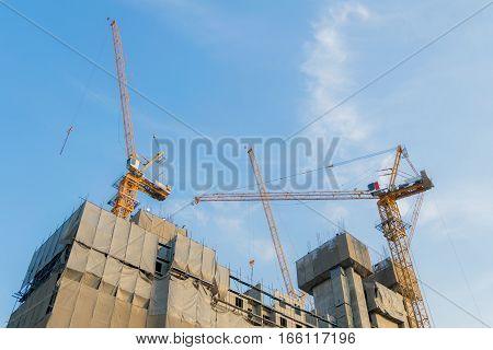 Building construction cranes and Skyscraper construction Many Cranes