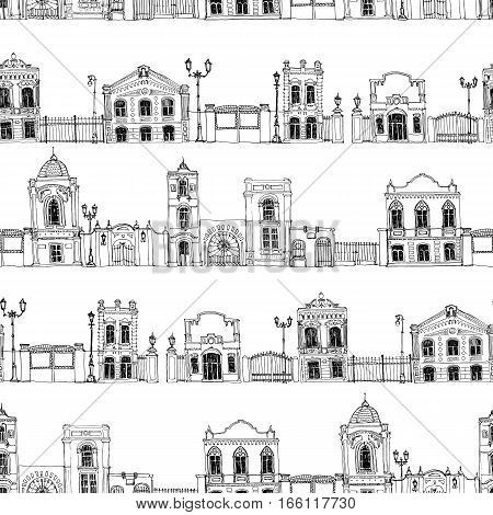 seamless pattern with different houses, background with line drawing mansions and fences, sketch of buildings, urban backdrop, city streets ornament