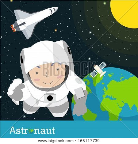 Astronauts spaceman Vector illustration cartoon flat collection job