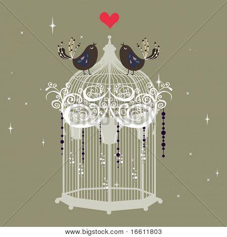 sweet little love bird on cage