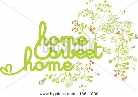 home sweet home design with floral