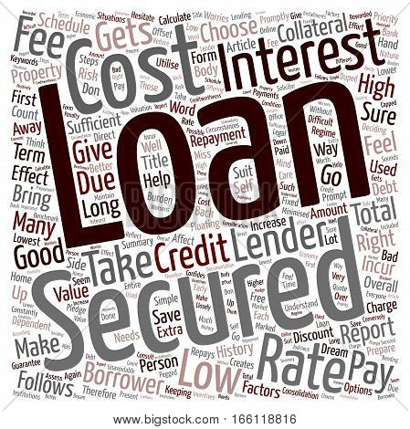 How To Get A Low Cost Secured Loan text background wordcloud concept