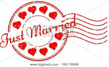Grunge red just married and heart icon round rubber stamp with postmark