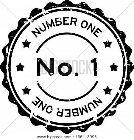 Grunge black No. 1 (number one) round rubber seal stamp on white background