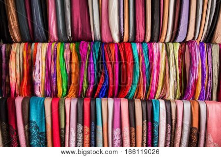 Shelf with a wide selection of colorful fabrics