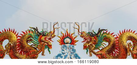 Beautiful golden dragon statues the Chinese style
