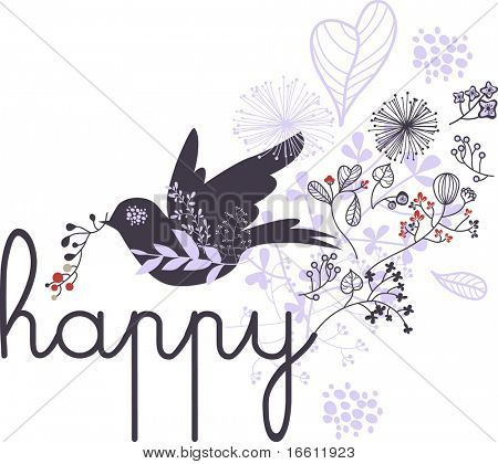 happy birds flying with floral background