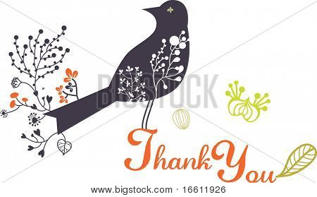 simple thank you card with bird