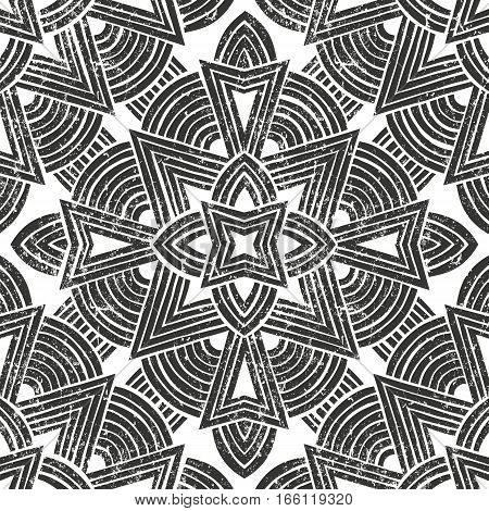Seamless tribal pattern with grunge texture. Hand drawn background. EPS10 vector illustration in linocut style.