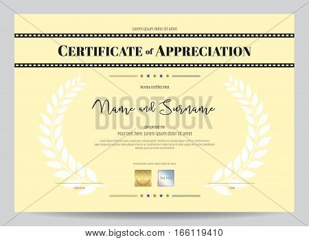 Certificate of appreciation template with movie film stripe header and award laurel