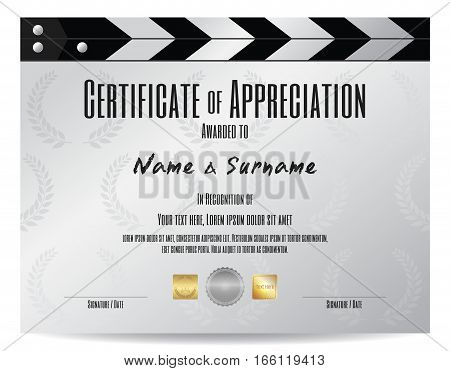Certificate of appreciation with movie film slate in silver tone theme