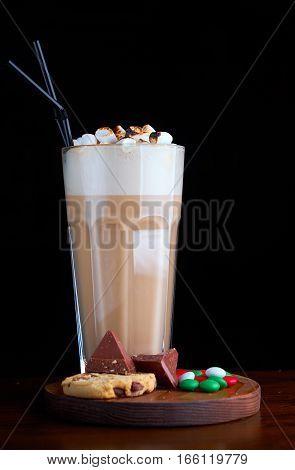 Iced coffee with chocolate ice cream marshmallow