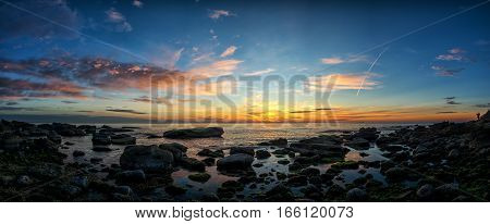 Panoramic View Of The Beautiful Sunrise On The Black Sea Coast
