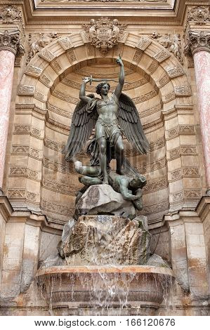 Fountain Saint-Michel is a monumental fountain located in Place Saint-Michel in the 5th arrondissement in Paris