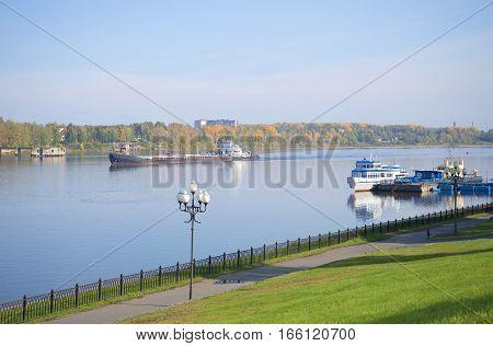 View of the Volga from Rybinsk embankment. Yaroslavl region, Russia