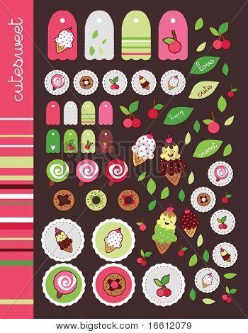 sweet cherry pink sticker set