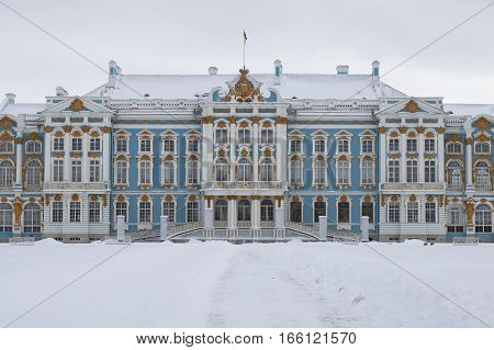 The Central building of the Catherine Palace a cloudy winter day. Tsarskoye Selo, Russia