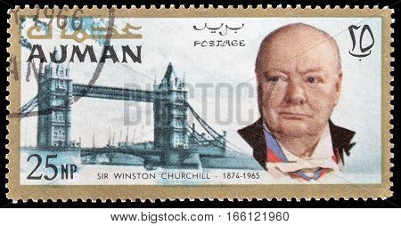 AJMAN - CIRCA 1966 : Cancelled postage stamp printed by Ajman, that shows Winston Churchill and Tower bridge.