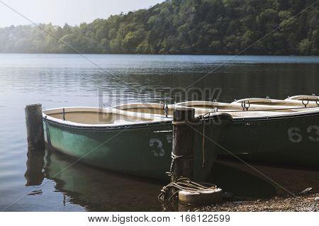 Boats on the chuzenji lake in Nikko Japan