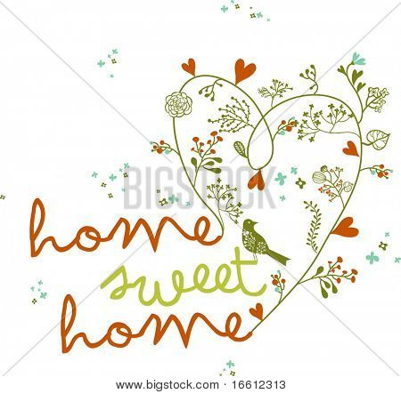 home sweet home floral words with bird