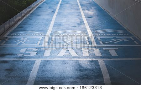 running track blue color For fitness, .