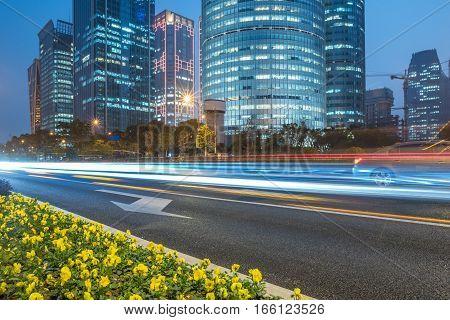 Traffic in downtown of Hong Kong at night,China.