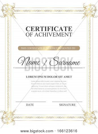 Beatiful gold certificate of achivement template. Vector illustration eps10