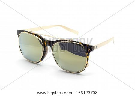 Modern fashionable sunglasses isolated on white background Glasses