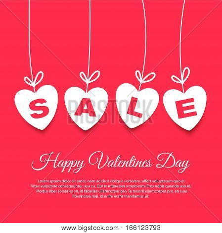 Happy valentines day sale poster or banner design with cute white hearts. Vector illustration eps 10