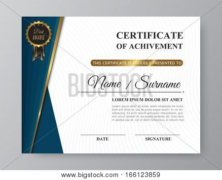 Luxury certificate of achivement design with golden award. Trendy gold and blue business template or modern diploma blank with pattern. Vector illustration eps10