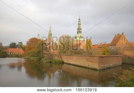 Cloudy autumn day at Frederiksborg castle. Denmark