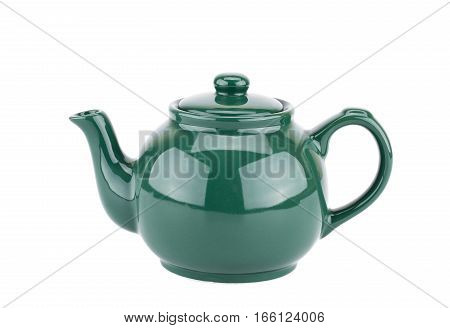 Green teapot isolated on a white background.