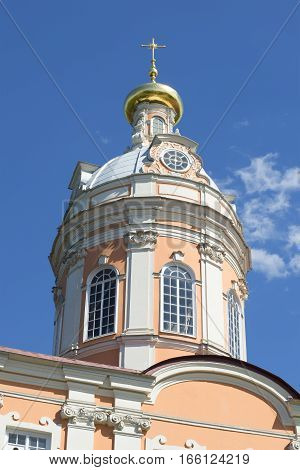 The dome of the sacristy of the Alexander Nevsky Lavra closeup. Saint Petersburg