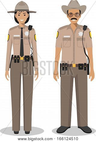 Couple of american police people isolated on white background. Set of USA policeman and policewoman standing together. Cute and simple in flat style.