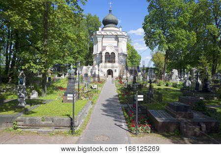 SAINT PETERSBURG, RUSSIA - MAY 25, 2015: Nikolskoye cemetery. Sunny may day. Alexander Nevsky Lavra, Saint Petersburg